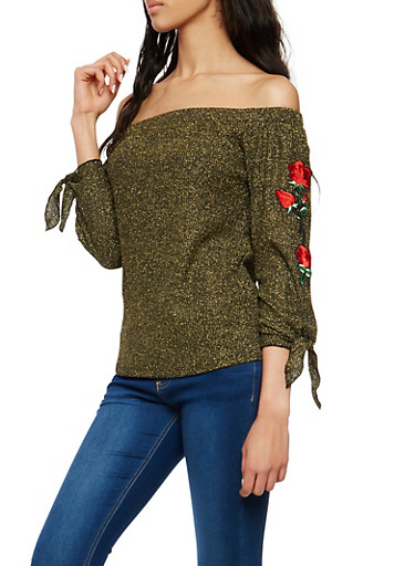 Glitter Knit Off the Shoulder Top with Floral Applique,BLACK,large