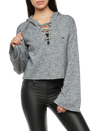 Marled Lace Up Hooded Sweater,HEATHER,large