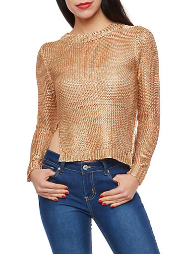 Metallic Mesh Knit Sweater,BRONZE,large