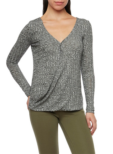 Fixed Wrap Front Top in Marled Knit,BLACK,large