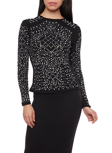 Studded Top with Keyhole Cutout Back,BLACK,large