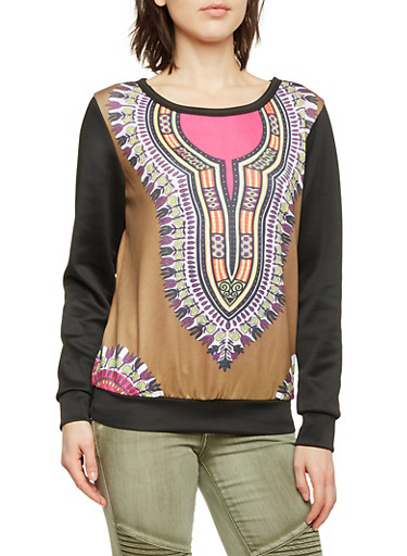 Dashiki Print Sweatshirt with Contrasting Sleeves,OLIVE,large