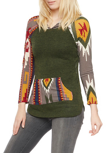 Knit Hoodie with Aztec Print Detail,OLIVE,large