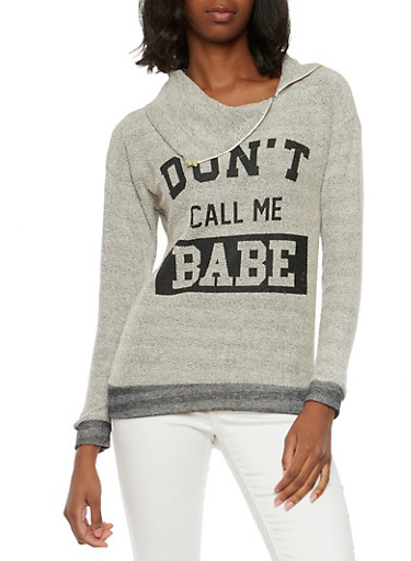 French Terry Sweater with Dont Call Me Babe Graphic,GRA/BLK,large