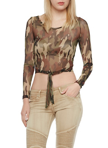Mesh Top in Camo Print with Waist Ties,OLIVE,large