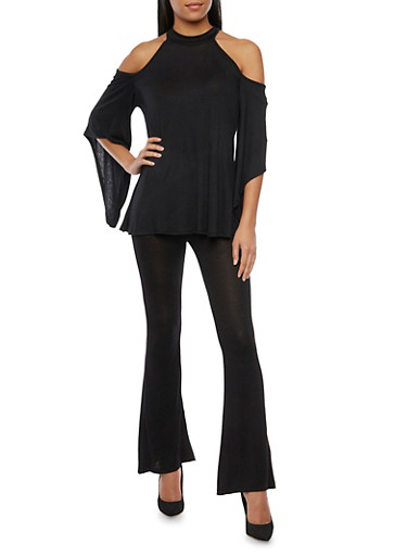 Cold Shoulder Top with Batwing Sleeves,BLACK,large