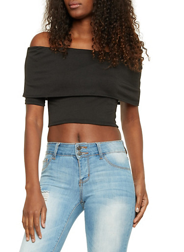 Off the Shoulder Crop Top with Overlay Panel,BLACK,large
