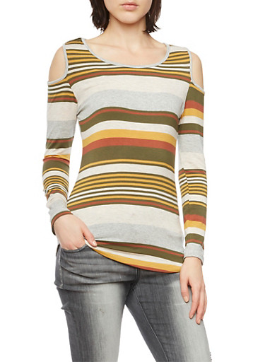 Striped Cold Shoulder Top,OLIVE,large