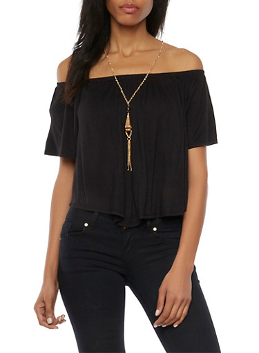 Off the Shoulder Swing Top with Necklace,BLACK,large