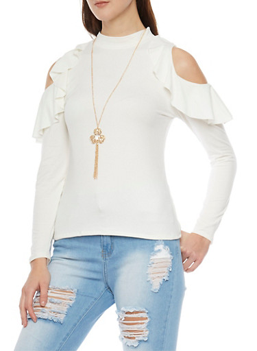 Ruffled Long Sleeve Cold Shoulder Top with Mock Neck and Necklace,IVORY,large