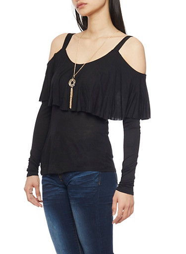 Solid Long Sleeve Cold Shoulder Ruffle Overlay Top,BLACK,large