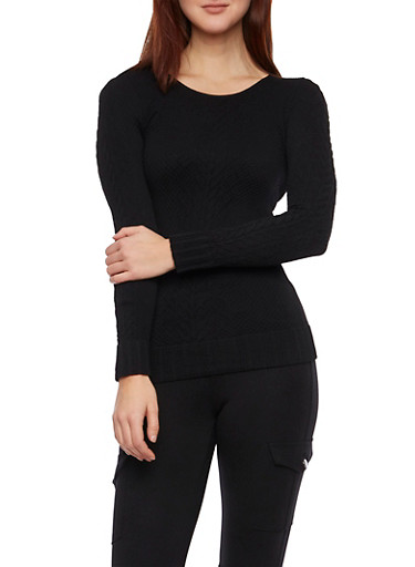Long Sleeve Textured Cable Knit Top,BLACK,large