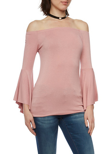 Off the Shoulder Top with Bell Sleeves,MAUVE,large