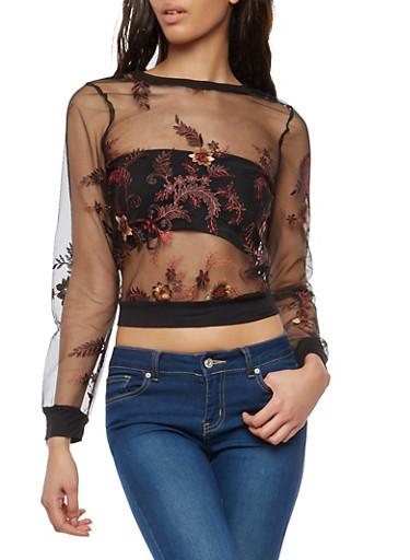 Black Floral Embroidered Mesh Top,BLACK,large