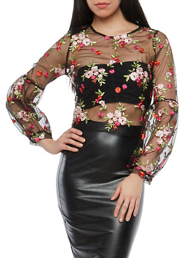 Floral Embroidered Mesh Bell Sleeve Zip Back Top,BLACK,large
