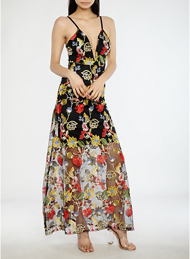 Floral Embroidered Mesh Maxi Dress,BLACK,large