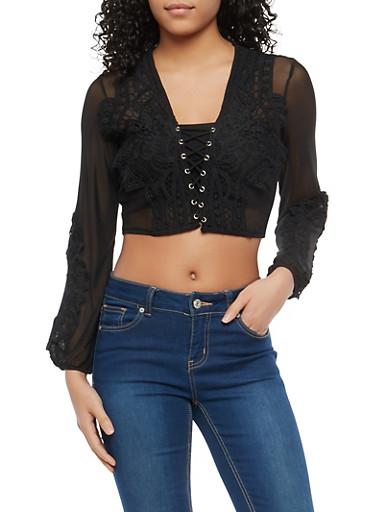Lace Up Crochet Mesh Crop Top,BLACK,large