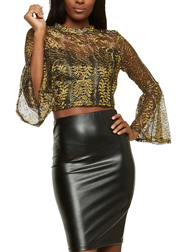 Gold Leaf Sheer Zip Back Top,BLACK/GOLD,large