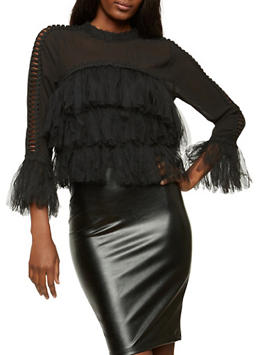 Tiered Mesh Fringe Top with Caged Sleeve Detail,BLACK,large