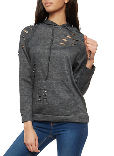 Laser Cut Hooded Pullover Sweatshirt,BLACK,large