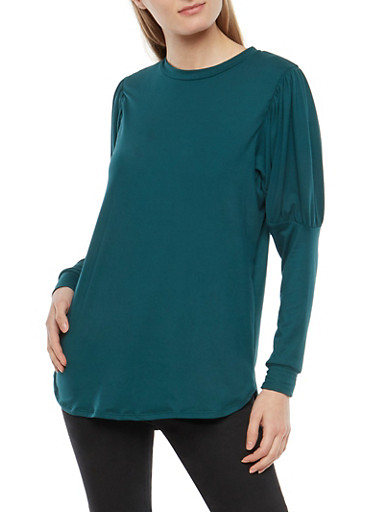 Soft Knit Bubble Sleeve Tunic Top,HUNTER,large