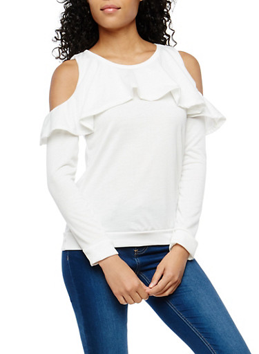 Ruffled French Terry Cold Shoulder Top,WHITE,large