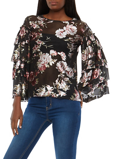 Floral Tiered Sleeve Mesh Top,BLACK/MAUVE,large
