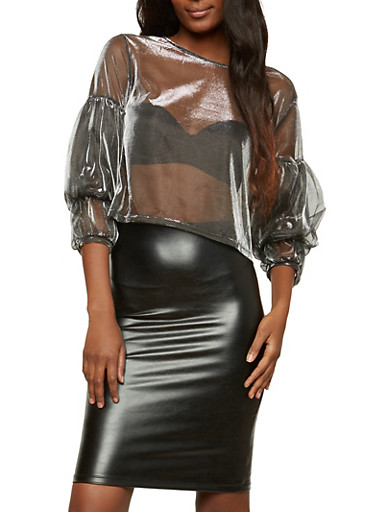 Bubble Sleeve Metallic Mesh Crop Top,BLACK/SILVER,large