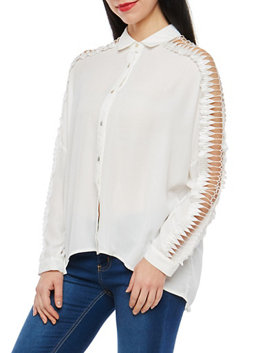 Crochet Insert Sleeve Button Front Top,WHITE,large