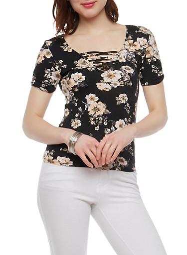 Floral Loop Neck T Shirt,BLACK,large