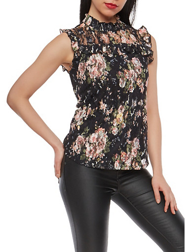 Sleeveless Floral Lace Top,BLACK,large