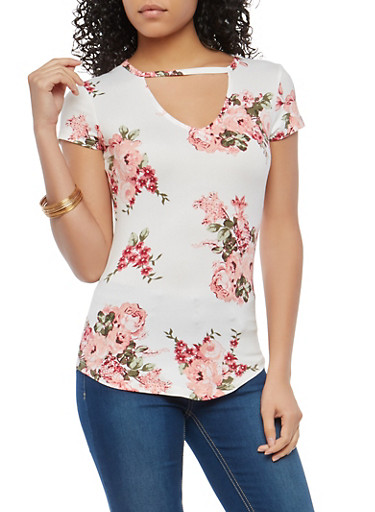Ivory Soft Knit Floral Keyhole Top,IVORY,large