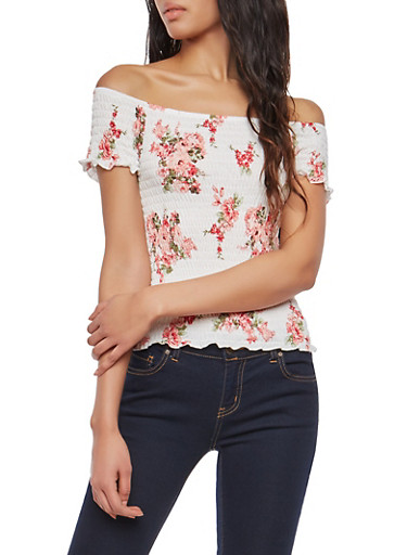 Floral Off the Shoulder Smocked Top,CREAM,large