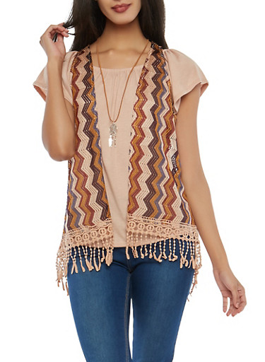 Rose Off the Shoulder Top with Vest and Necklace,MAHOGANY ROSE,large