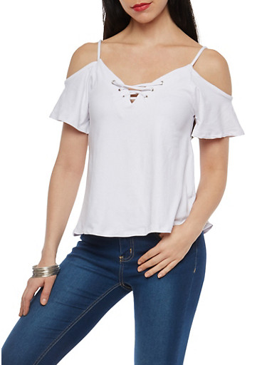 Lace Up Cold Shoulder Top,WHITE,large