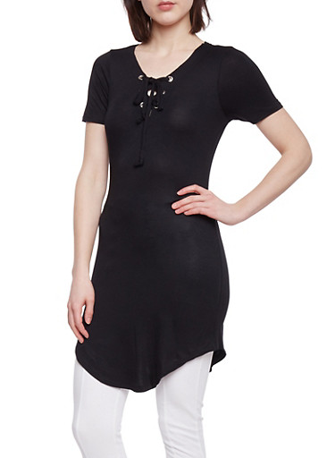 Short Sleeve Lace Up Tunic Top,BLACK,large