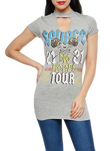 Graphic Choker Neck T Shirt,HEATHER,large