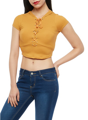 Lace Up Hooded Crop Top,MUSTARD,large