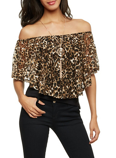 Off The Shoulder Top in Lace Leopard Print with Necklace,BROWN,large