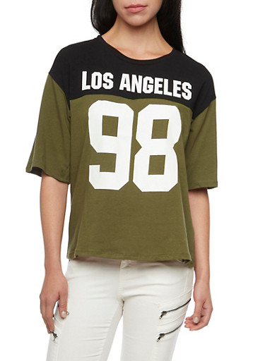 Oversized Varsity Tee with Los Angeles 98 Print,BLACK/OLIVE,large