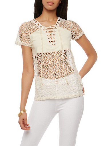 Sheer Crochet Lace Up Top