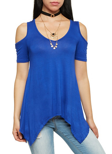 Cold Shoulder Top with Necklace,RYL BLUE,large