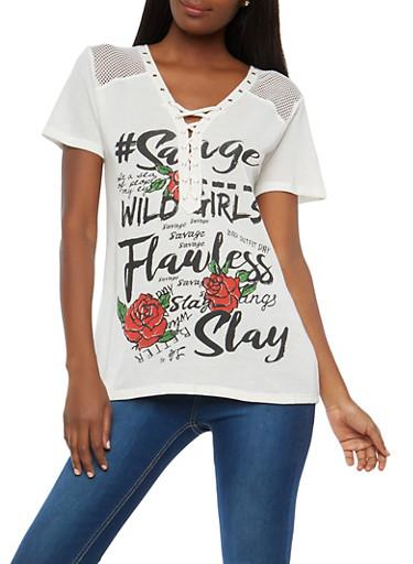 Graphic Fishnet Yoke Lace Up T Shirt,WHITE,large