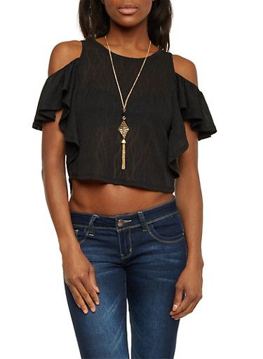 Cold Shoulder Ruffle Crop Top with Necklace,BLACK,large