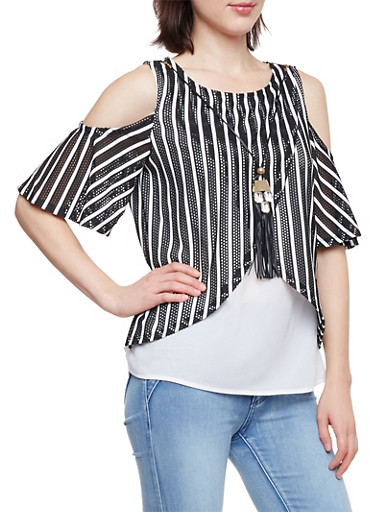 Layered Cold Shoulder Top with Stripes and Necklace,WHT-BLK,large