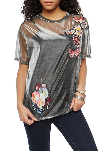 Embroidered Metallic Mesh Top,SILVER,large