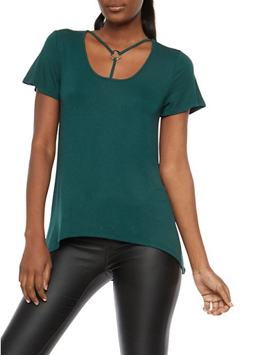 Soft Knit Caged Neck High Low T Shirt,HUNTER,large