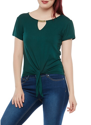 Short Sleeve Tie Front Keyhole Top,HUNTER,large