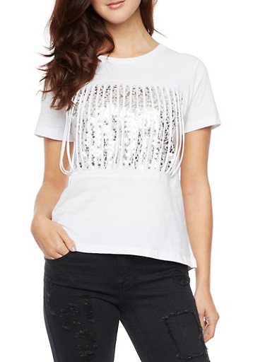 T Shirt with Sequin Backed Slash Cuts,WHITE/SILVER,large