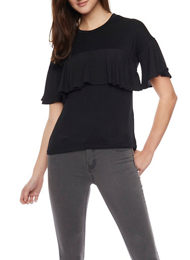 Short Sleeve Shirt with Ruffle Detail,BLACK,large